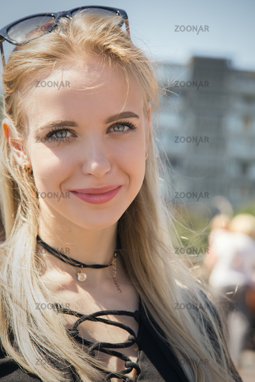 happy blond girl