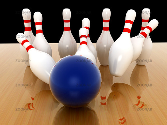 Bowling Pins on wood background