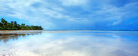 Caribbean sea and clouds sky . Travel background.
