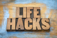 life hacks word abstract in wood type