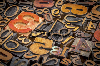 numbers background in wood type