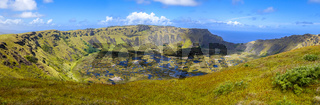 Rano Kau volcano crater in Easter Island panoramic view