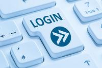 Login Button anmelden online Computer Tastatur blau