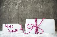 White Gift, Snow, Label, Alles Gute Means Best Wishes