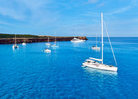 Early morning in in Formentera. Sailboats at Cala Saona bay. Balearic Islands. Spain