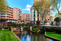 View to the Canal of Perpignan in springtime. Pyrenees-Orientales, France