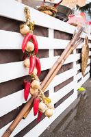 Garlic and  hot chili hanging