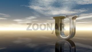 metal uppercase letter u under cloudy sky - 3d rendering