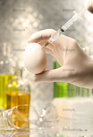 Close-up of syringe injecting egg