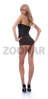 model in polka-dot body