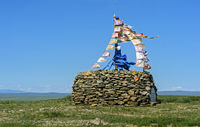 Ovoo, sacred stone heap and place of worship. Mongolia