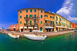 Lazise colorful harbor and boats panoramic view