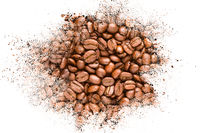 Abstract background of coffee beans explosion