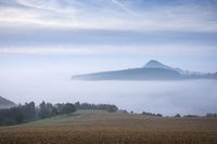 Hegau volcanic landscape in the fog