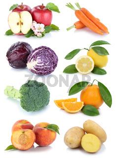 Obst und Gemüse Früchte Apfel Orange Karotten Möhren Pfirsich frische Collage Freisteller freigestellt isoliert