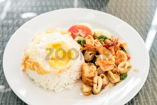 Spicy fried seafood  basil
