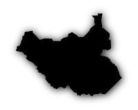 Karte von Südsudan mit Schatten - Map of South Sudan with shadow
