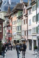 pedestrian street in aldstadt old town of zurich city switzerland