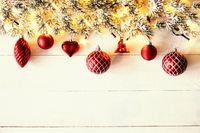 Red Christmas Banner, White Wood, Copy Space