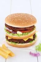 Doubleburger Double Burger Hamburger Textfreiraum Copyspace Fleisch Käse Tomaten Salat