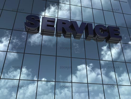 das wort service an glasfassade - 3d rendering