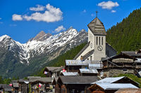 Swiss heritage mountain village with church, Blatten, Lötschental, Pennine Alps, Valais, Switzerland