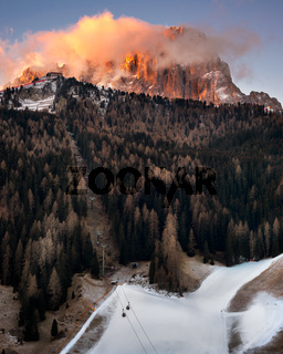 Selva Val Gardena in the Morning, Val Gardena, Dolomites, Italy
