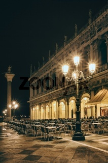 Lamps on St. Mark's Square in Venice, Italy