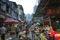 food market shopping area street in central xiamen city china