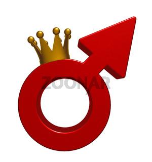 symbol für männlich mit krone - 3d illustration