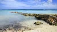 Caribbean sea and rock stones.