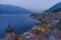 Popular travel destination, Limone on lake Garda at dusk, Brescia, Lombardy, Italy