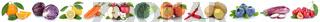 Obst und Gemüse Früchte Apfel Orange Karotten Möhren Kirschen frische Freisteller freigestellt isoliert in einer Reihe