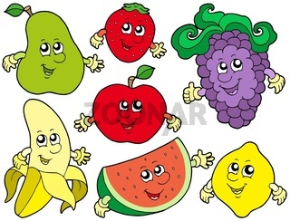 Cartoon fruits collection 2 - isolated illustration.