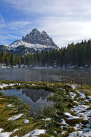 First snow at Lake Antorno, South Tyrol, Alto Adige, Italy