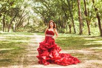 Princess with crown in cloudy red dress