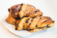 Italian croissants on plate