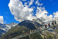 Visitors on the Charles Kuonen Suspension Bridge,world's longest pedestrian suspension bridge,Valais