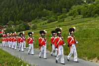 Grenadiers of Our Lord at the Corpus Christi procession, Wiler, Lötschental, Valais, Switzerland