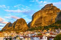 The Meteora rocks and Kalambaka town