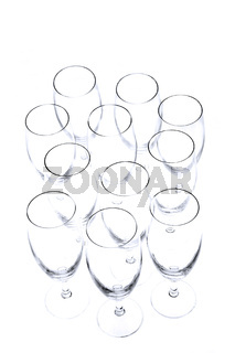 Empty champagne glasses from above