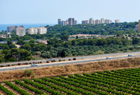 Townscape with a surrounding countryside and highway. Orihuela coast. Spain
