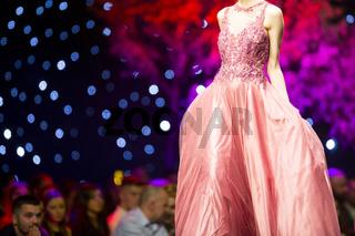 Fashion show runway beautiful pink dress