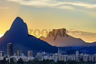 Leblon buildings and Rio de Janeiro hills at sunset