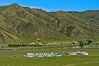 Ger camp for tourists in the Orkhon Valley near Kharkhorin, Mongolia