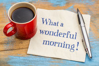 What a wonderful morning - napkin note