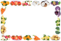 Obst und Gemüse Früchte Äpfel, Orangen Tomaten Essen Rahmen Textfreiraum Copyspace