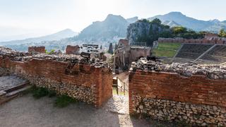 walls of ancient Teatro Greco in Taormina