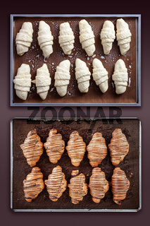 Croissant before and after baking
