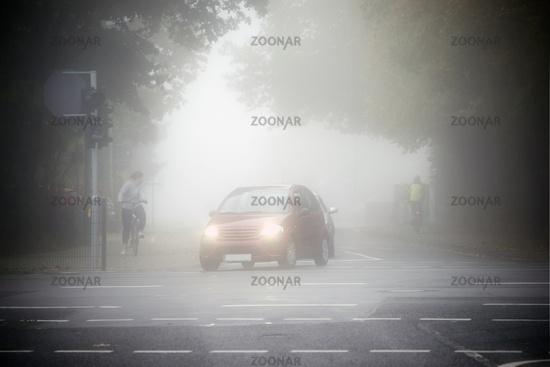 Road traffic in the fog